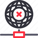 database, error connection, hardware, hosting, server, storage, worldwide icon