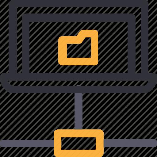 database, folder connection, hardware, hosting, laptop, server, storage icon