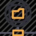 database, folder connection, hardware, hosting, server, storage, worldwide icon