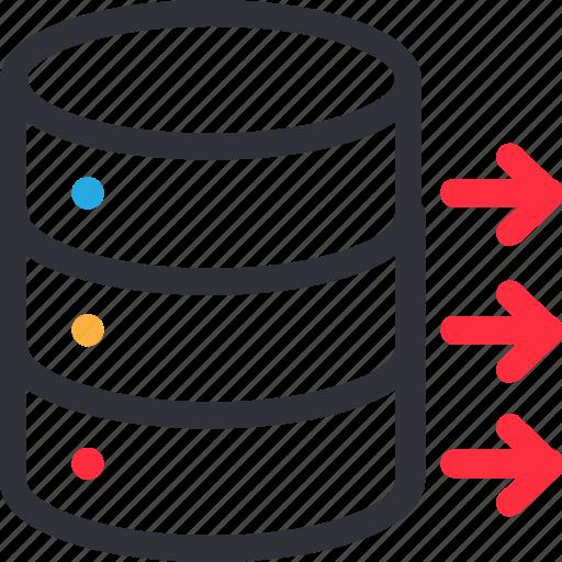 database, flow, hardware, hosting, move, server, storage icon