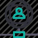 database, hardware, hosting, server, storage, user connection, worldwide icon