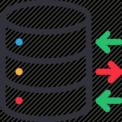 database, flow, hardware, hosting, server, storage icon
