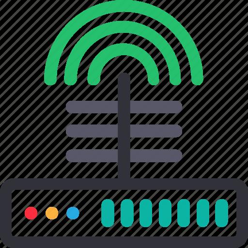 database, hardware, hosting, modem, server, signal, storage icon