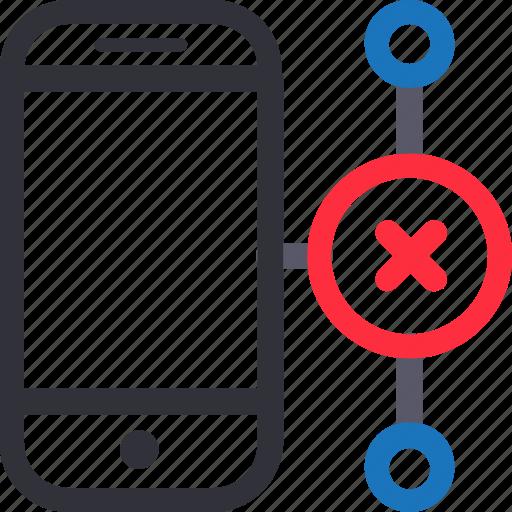 database, error connection, hardware, hosting, server, smartphone, storage icon