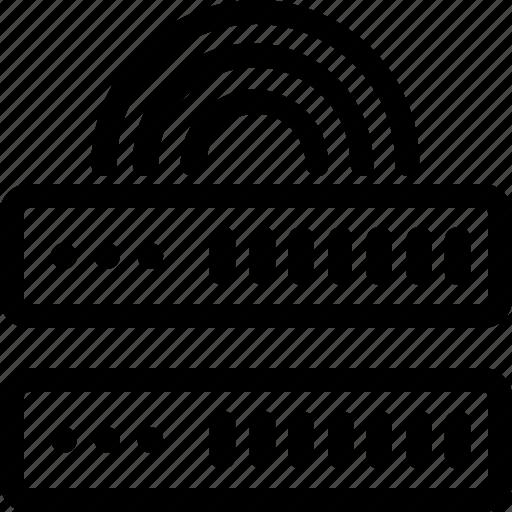 connection, database, hardware, hosting, server, signal, storage icon