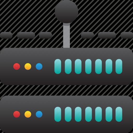 connection, database, hardware, hosting, modem, server, storage icon