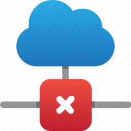 cloud, database, error connection, hardware, hosting, server, storage icon