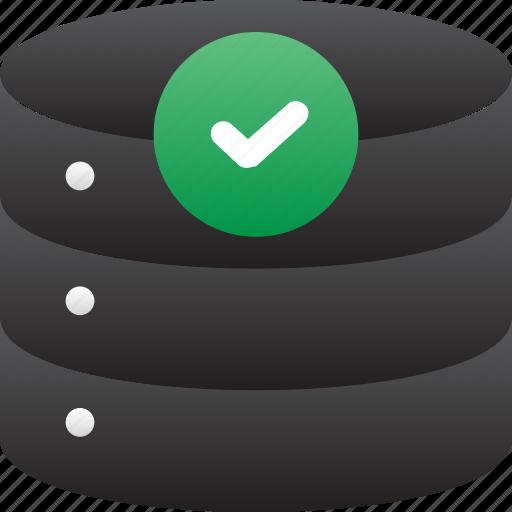 checked, database, good, hardware, hosting, server, storage icon