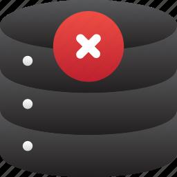 bad, database, error, hardware, hosting, server, storage icon