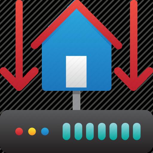 connection down, database, hardware, home server, hosting, server, storage icon