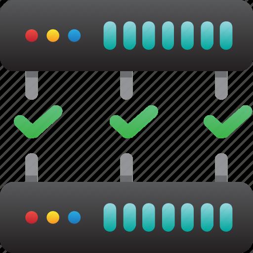database, good connection, hardware, hosting, modem, server, storage icon