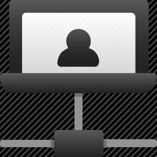 database, hardware, hosting, laptop, server, storage, user connection icon