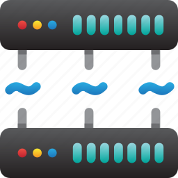 database, hardware, hosting, modem, server, stable connection, storage icon