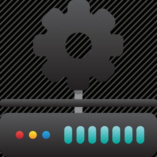 database, hardware, hosting, maintenance, modem, server, storage icon