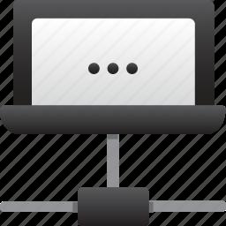 database, hardware, hosting, laptop, loading connection, server, storage icon