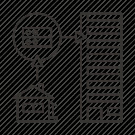 data, hardware, house, local, scheme, server, storage icon