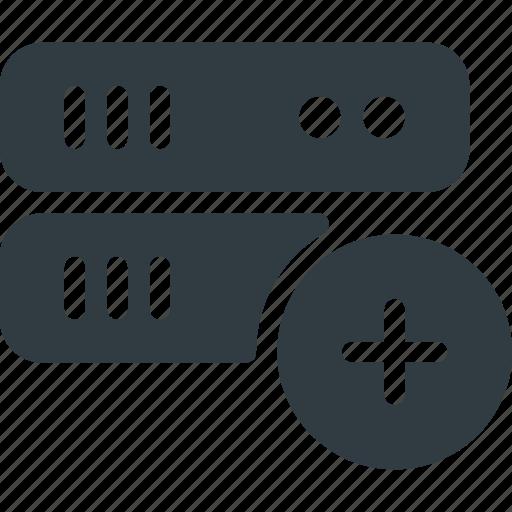 Add, database, data, store, server icon