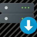 data, database, download, server, storage icon