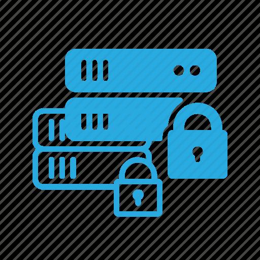 data, database, lock, server, storage icon