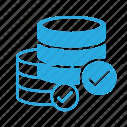 check, data, database, server, store icon