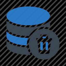 database, delete, mianframe, storage, trash icon