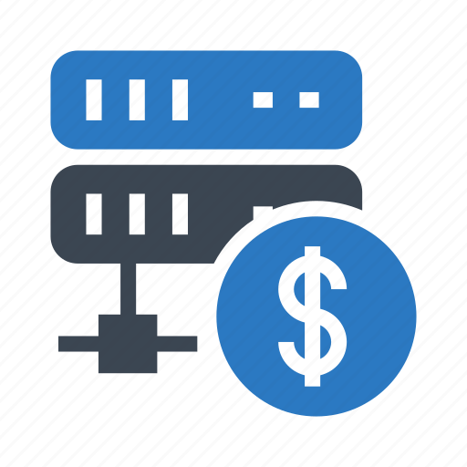 cash, database, dollar, server, storage icon