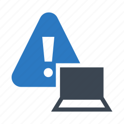 alert, device, exclamation, laptop, warning icon