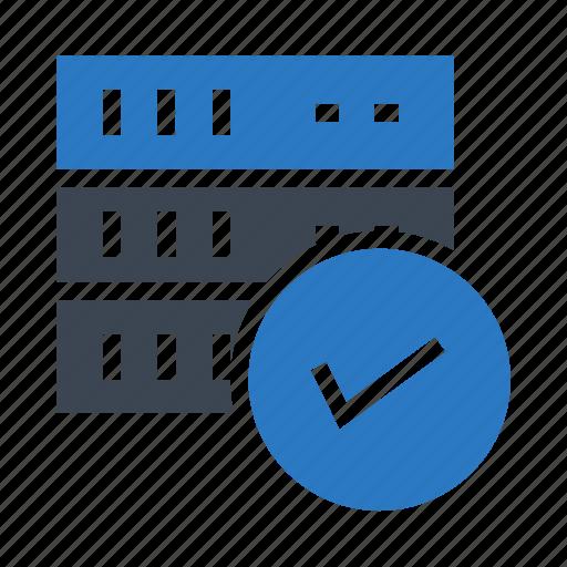 database, done, mainframe, server, tick icon