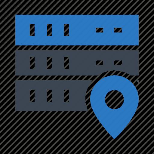 database, datacenter, location, mainframe, map icon