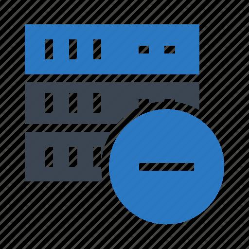 database, mainframe, minus, remove, server icon