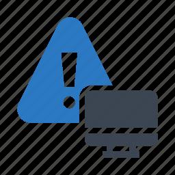 error, exclamation, monitor, screen, warning icon
