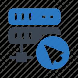 cursor, mainframe, network, pointer, server icon