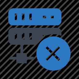 database, datacenter, delete, mainframe, server icon
