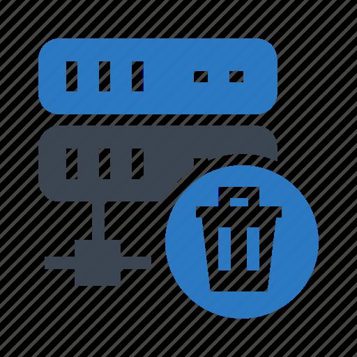 database, datacenter, delete, server, trash icon