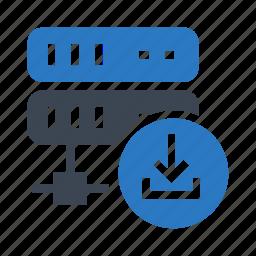 database, download, mainframe, server, storage icon