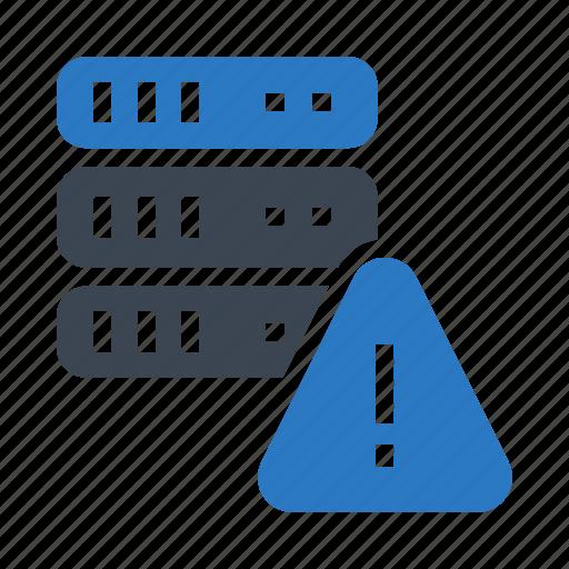 database, datacenter, exclamation, server, warning icon