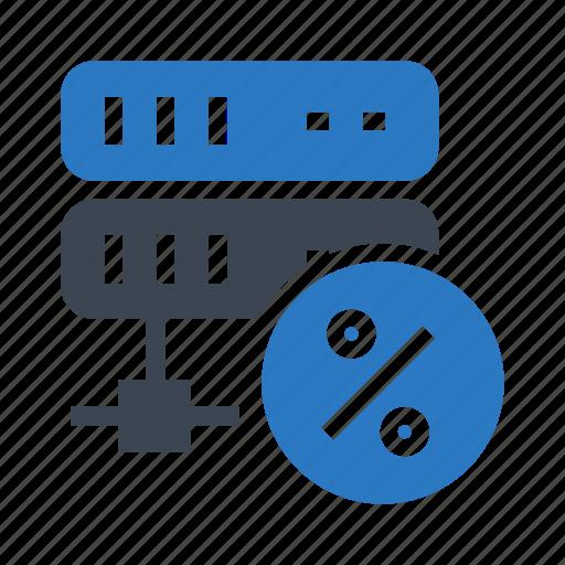 database, datacenter, percentage, server, storage icon
