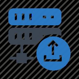 database, datacenter, server, storage, upload icon