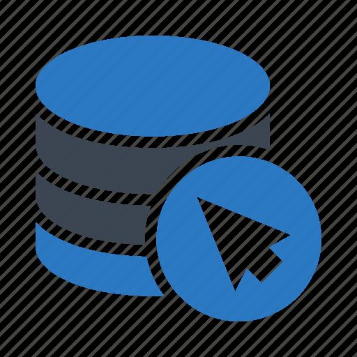 cursor, database, mouse, pointer, storage icon