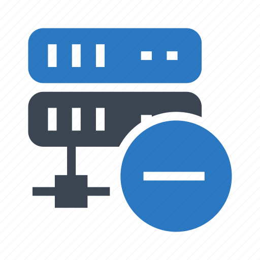 database, minus, remove, server, storage icon