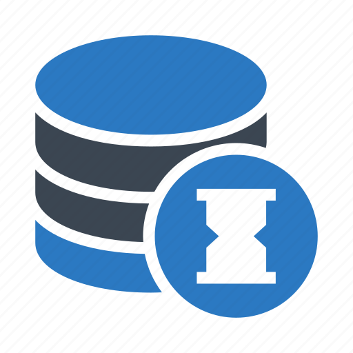 database, hourglass, server, storage, timer icon