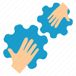 communication, connection, contact, cooperation, gears, hands, integration icon