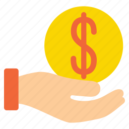 coin, fee, hand, handle, pay, payment, payout icon