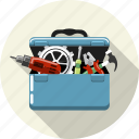 box, equipment, gear, repair, service, setting, tools icon