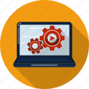 cog, computer, configuration, desktop, display, gear, settings icon