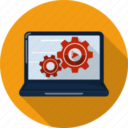 cog, computer, configuration, desktop, display, gear, settings icon