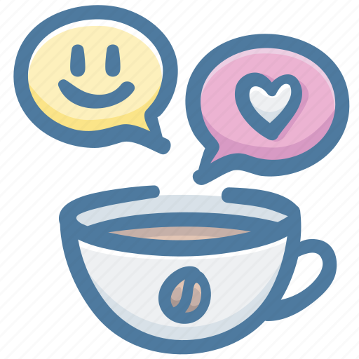 cafe, coffee, favorite, love, meeting, message, smile icon