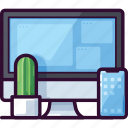 cactus, computer, device, office, phone, plant icon
