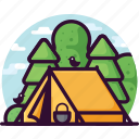 bird, camping, forest, nature, tent icon