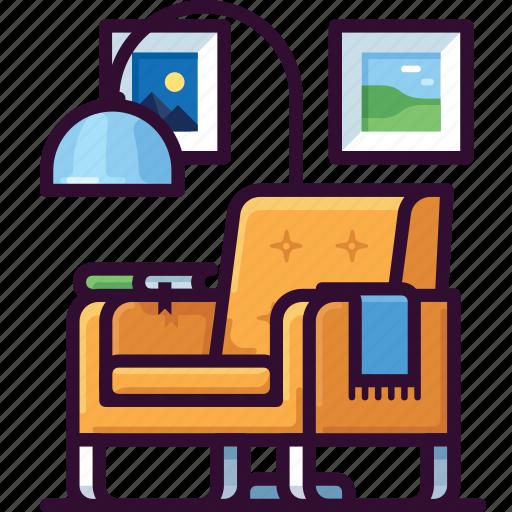 armchair, chair, furniture, home, interior, lamp icon